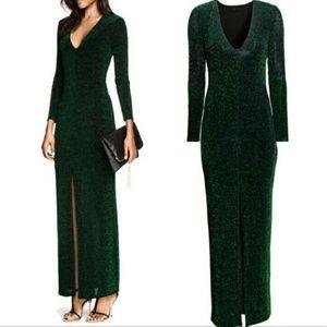 H&M  Green Teal Glitter Maxi Evening Dress Gown